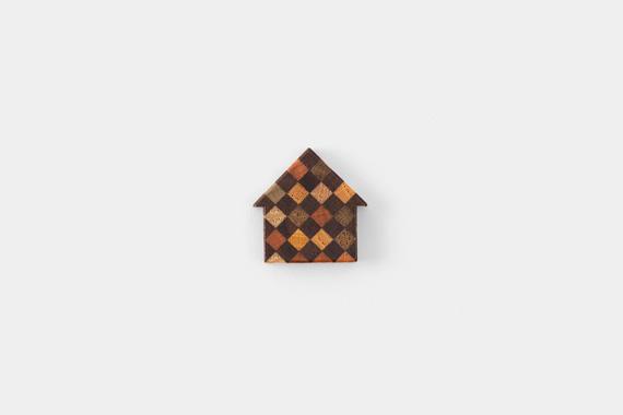 るちゑ チャーム 寄木 家型 ダークブラウン