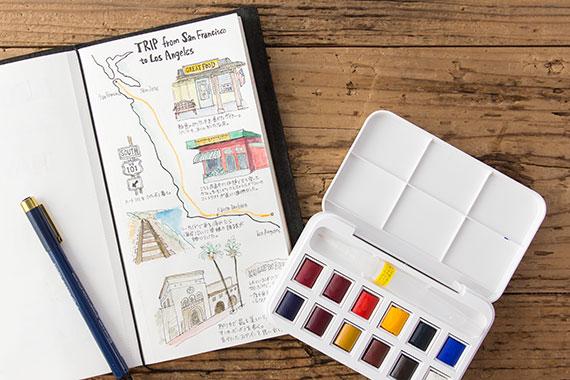 WINSOR&NEWTON コットマン ハーフパン12色セット 水筆ペン付き