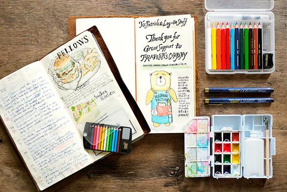 トラベラーズノートに絵を描こう。