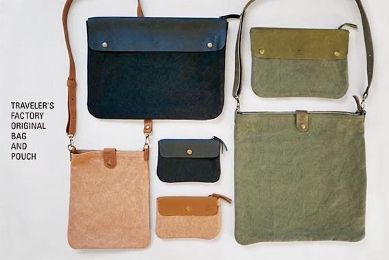 キャンバスとトラベラーズノートの革を使用したバッグとポーチを作りました。